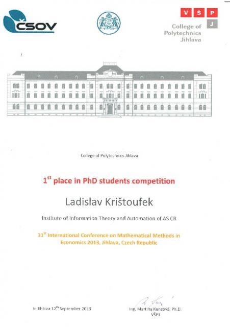 Ladislav Kristoufek - 1st place